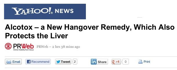 Alcotox Press Coverage Alcotox News Yahoo News Alcotox A new hangover remedy which also protects the liver